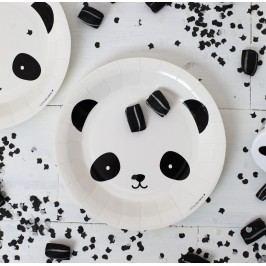 A Little Lovely Company Papírové talířky Panda - set 12ks, černá barva, bílá barva, papír