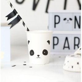 A Little Lovely Company Papírové kelímky Panda - set 12ks, černá barva, bílá barva, papír