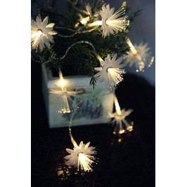 STAR TRADING Světelný LED řetěz s květinami Fibry, bílá barva, plast