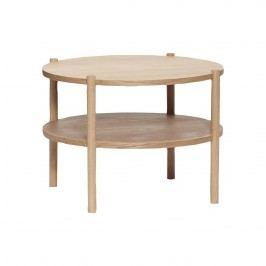 Hübsch Kulatý stolek Round Oak, hnědá barva, dřevo