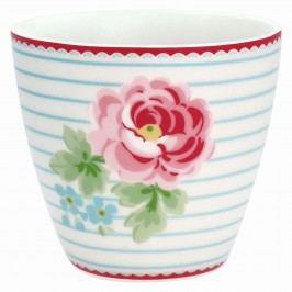 GREEN GATE Latte cup Lily white 350ml, červená barva, modrá barva, bílá barva, porcelán 350 ml