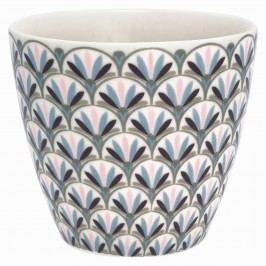 GREEN GATE Latte cup Victoria white 350ml, růžová barva, černá barva, bílá barva, porcelán 350 ml