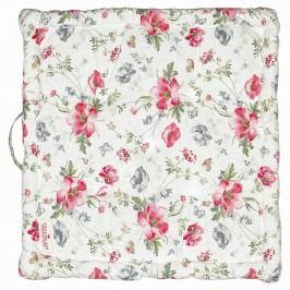 GREEN GATE Sedák Meadow white 50x50, růžová barva, textil