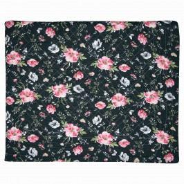 GREEN GATE Prošívaný přehoz Meadow Black 140x220 cm, růžová barva, černá barva, textil