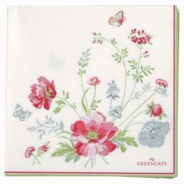 GREEN GATE Papírové ubrousky Meadow white, červená barva, zelená barva, bílá barva, papír