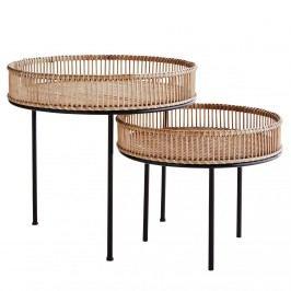 MADAM STOLTZ Kulatý bambusový stolek Natural/Black Větší, černá barva, hnědá barva, přírodní barva, dřevo, kov