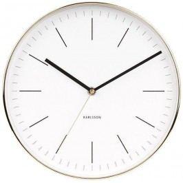 Karlsson Nástěnné hodiny Minimal White Gold, bílá barva, zlatá barva, sklo, kov