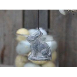 Chic Antique Závěsný velikonoční zajíček Hare, šedá barva, pryskyřice