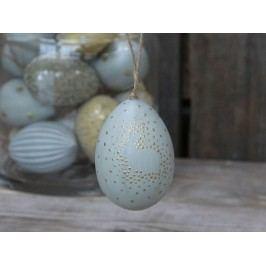Chic Antique Závěsné plastové vejce Light Blue Pattern, modrá barva, šedá barva, zlatá barva, plast
