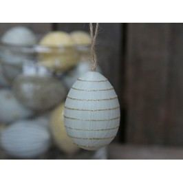 Chic Antique Závěsné plastové vejce Light Blue Stripes, modrá barva, šedá barva, plast