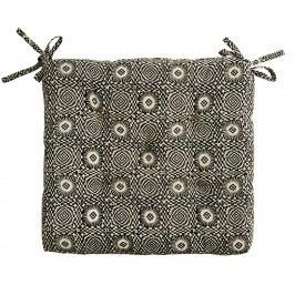 MADAM STOLTZ Sedák Black/Beige pattern 45x45 cm, béžová barva, černá barva, krémová barva, textil