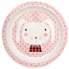 PETIT MONKEY Melaminový dětský talíř Pink Rabbit, růžová barva, melamin