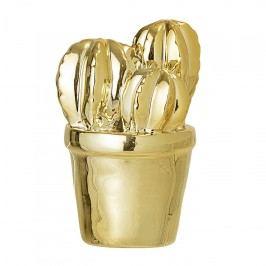 Bloomingville Porcelánová soška Cactus Gold, zlatá barva, porcelán