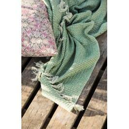 IB LAURSEN Bavlněný přehoz Green/cream 130x160, zelená barva, textil