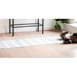 IB LAURSEN Bavlněný koberec Blue/white 60x180, modrá barva, krémová barva, textil