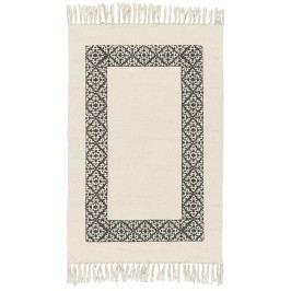 IB LAURSEN Bavlněný kobereček Black Frame 55x85, černá barva, krémová barva, textil