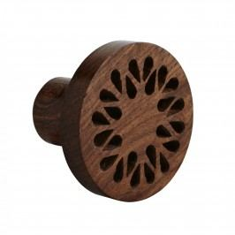 MADAM STOLTZ Dřevěný věšák Sisum, hnědá barva, přírodní barva, dřevo
