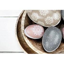 TAFELGUT Papírové krabičky ve tvaru vejce - set 3ks, růžová barva, modrá barva, hnědá barva, papír