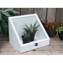 Chic Antique Květinový skleník White, bílá barva, sklo, dřevo 31cmx24cmx26cm