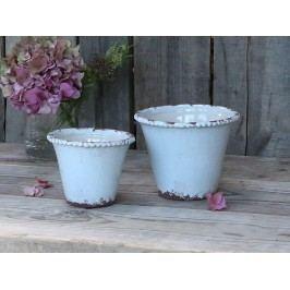 Chic Antique Obal na květiny Lace Edge 10cm, modrá barva, keramika 12cmx10cm