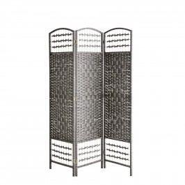 MADAM STOLTZ Dřevěný paravan Dark grey/Black 150 cm, šedá barva, dřevo, papír