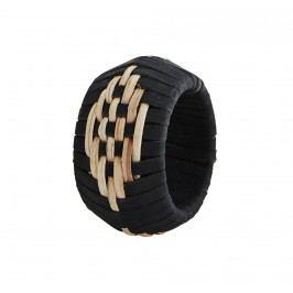 MADAM STOLTZ Kroužek na ubrousky Black/Natural, černá barva, hnědá barva, dřevo, kůže