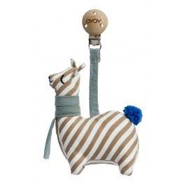 OYOY Hračka do kočárku Lama, hnědá barva, krémová barva, textil
