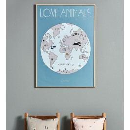 OYOY Plakát The World 50x70 cm, modrá barva, papír