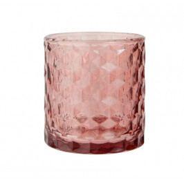 IB LAURSEN Skleněný svícen Malva glass, růžová barva, sklo