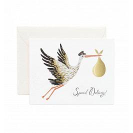 Rifle Paper Co. Přání s obálkou Special Delivery!, bílá barva, zlatá barva, papír