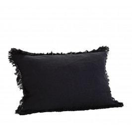 MADAM STOLTZ Lněný povlak na polštář Black 40x60cm, černá barva, textil