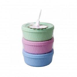 rice Plastové dózy s víčkem - set 3ks, růžová barva, modrá barva, zelená barva, plast