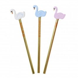 rice Tužka s gumou Gold Swan Modrá, růžová barva, modrá barva, bílá barva, zlatá barva, dřevo