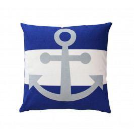 Krasilnikoff Bavlněný povlak na polštář Blue Anchor 50x50, modrá barva, bílá barva, textil