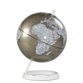 Wild & Wolf Stolní glóbus Metallic Pewter 27 cm, béžová barva, bílá barva, kov, plast