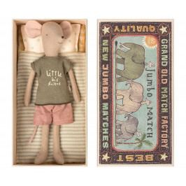 Maileg Myšák v krabici od sirek - medium, béžová barva, multi barva, papír, textil