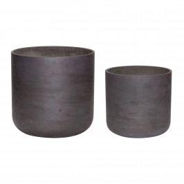 Hübsch Květináč Black Cement Menší, černá barva, beton 25cmx24cm