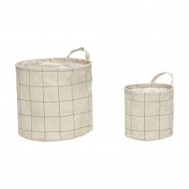 Hübsch Úložný koš Squares - set 2ks, krémová barva, textil