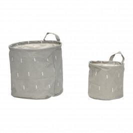 Hübsch Úložný koš Grey - set 2ks, šedá barva, textil