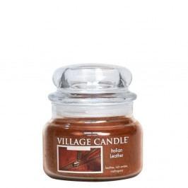 VILLAGE CANDLE Svíčka ve skle Italian Leather - malá, hnědá barva, sklo, vosk