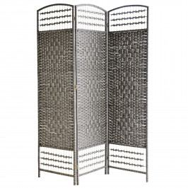 MADAM STOLTZ Dřevěný paravan Dark grey/Black 180 cm, šedá barva, dřevo, papír