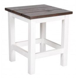 IB LAURSEN Dřevěná stolička bílá, bílá barva, hnědá barva, dřevo