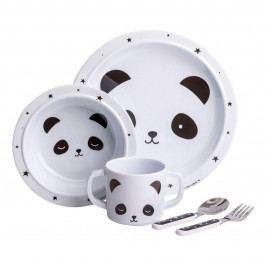 A Little Lovely Company Set dětského melaminového nádobí Panda, černá barva, bílá barva, melamin