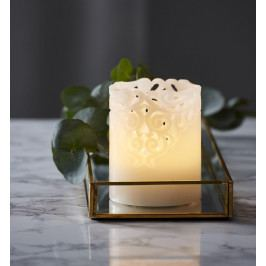 STAR TRADING LED vosková svíčka 10 cm, bílá barva, plast, vosk