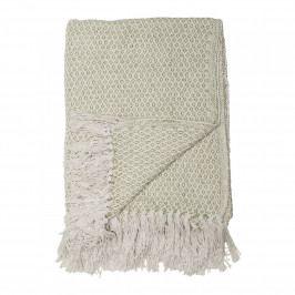 Bloomingville Přehoz Green Cotton 160x130cm, zelená barva, textil