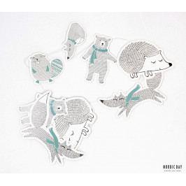 Bloomingville Papírová girlanda se zvířátky Forest friends, modrá barva, bílá barva, papír