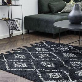 House Doctor Koberec Marlie Black 200x140, černá barva, bílá barva, textil