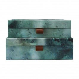 House Doctor Úložný box Earth Menší, modrá barva, zelená barva, papír