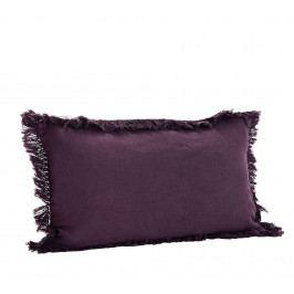 MADAM STOLTZ Lněný povlak na polštář Aubergine 30x50cm, fialová barva, textil