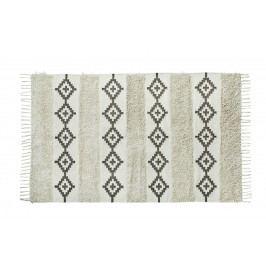MADAM STOLTZ Bavlněný koberec Fringes 120x180, černá barva, krémová barva, textil